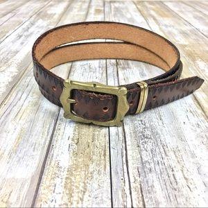 Vintage Brown Leather Gold Metal Belt